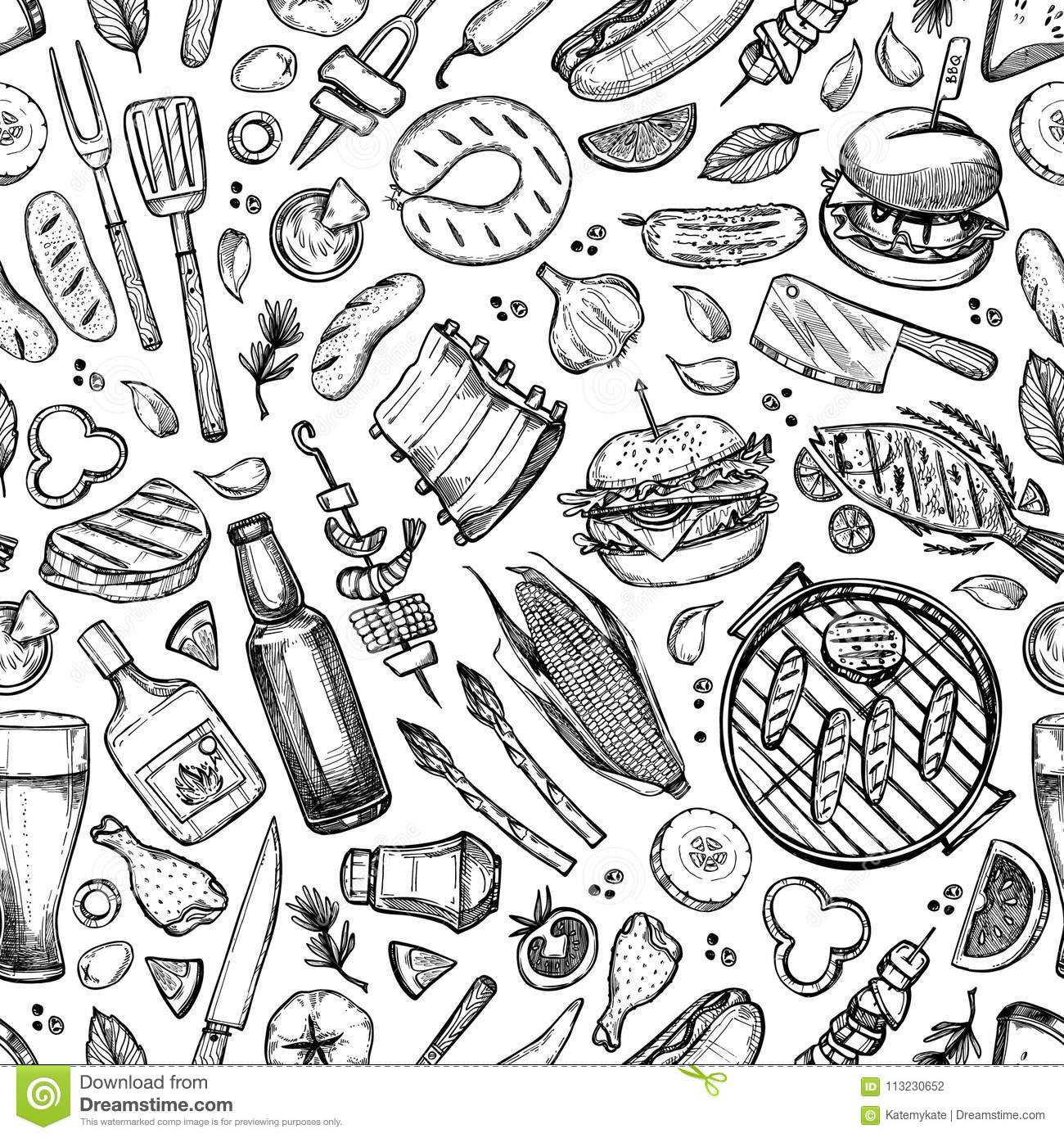 Hand drawn vector seamless pattern. BBQ. Barbeque design element