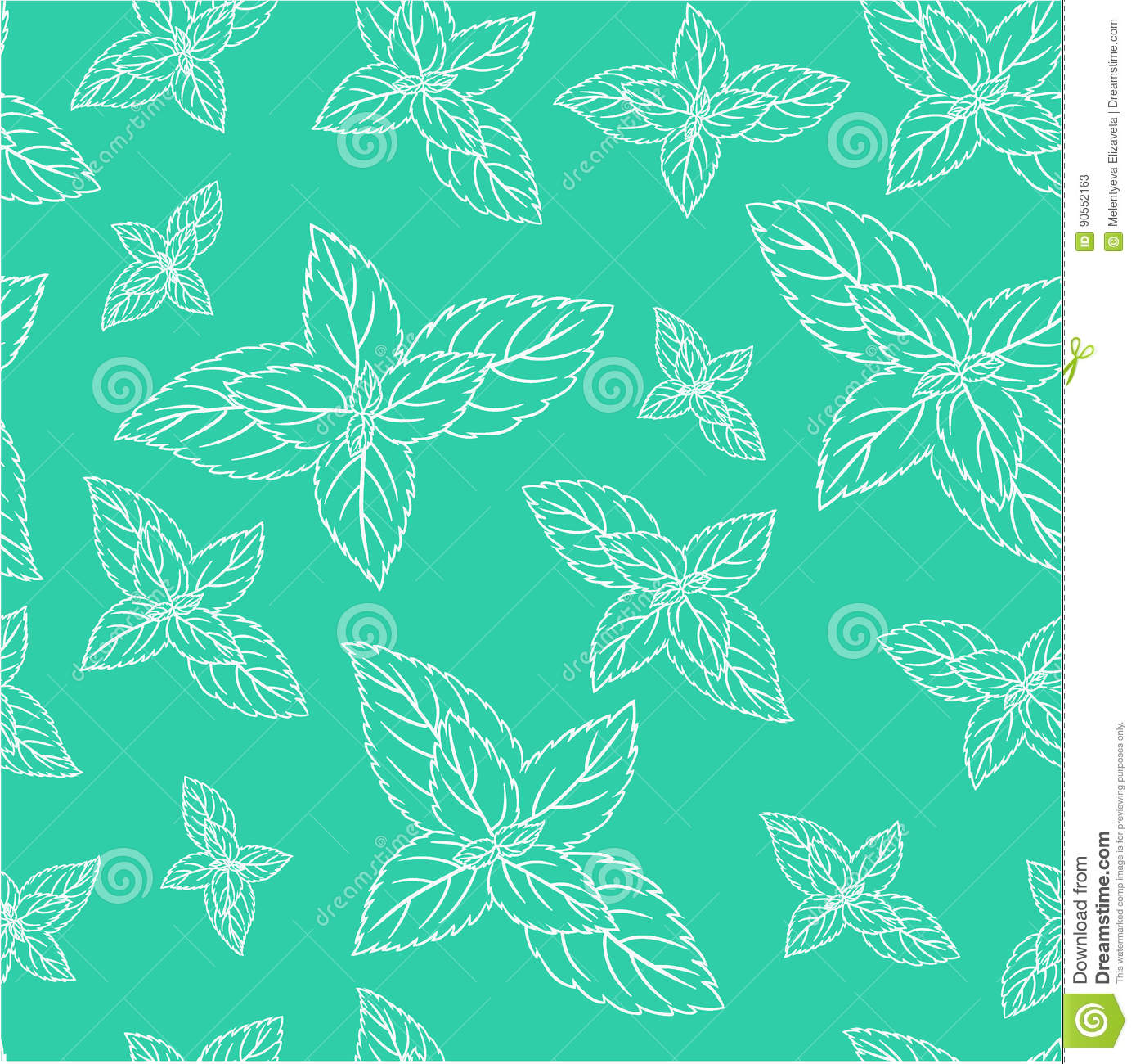 Hand Drawn Vector Seamless Patterns With Mint Leaves, Peppermint ...