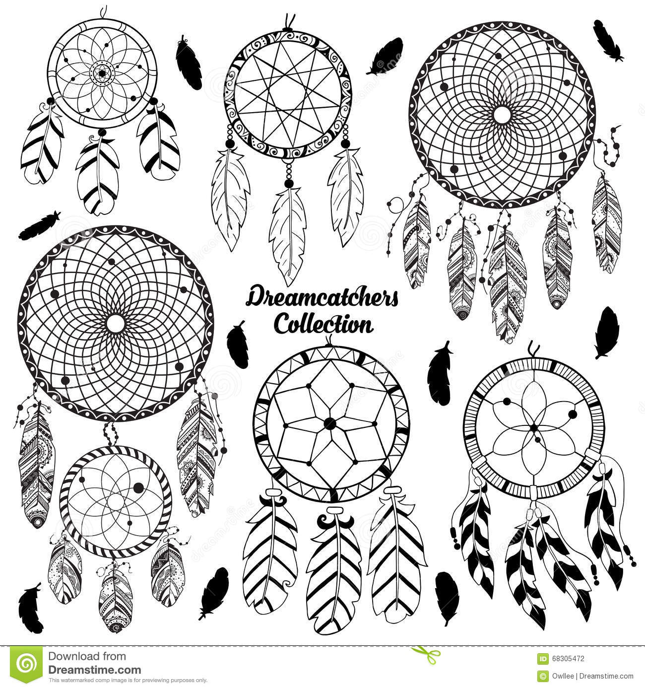 Hand drawn vector set with dreamcatchers
