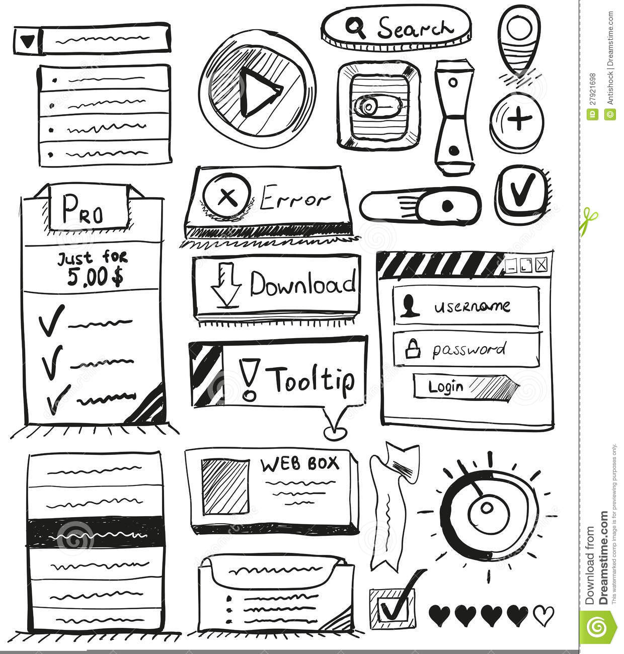 hand drawn vector set of user interface design stock