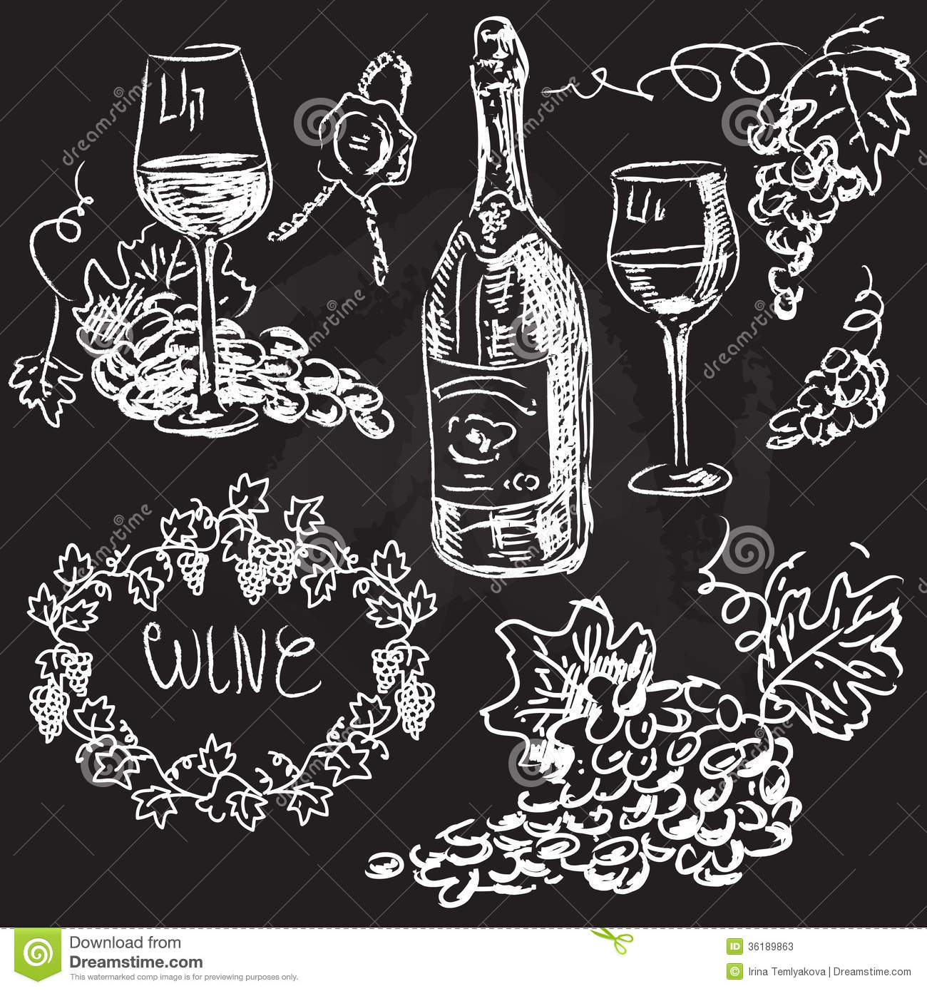 Hand drawn vector set wine and winemaking stock photos for Wine chalkboard art