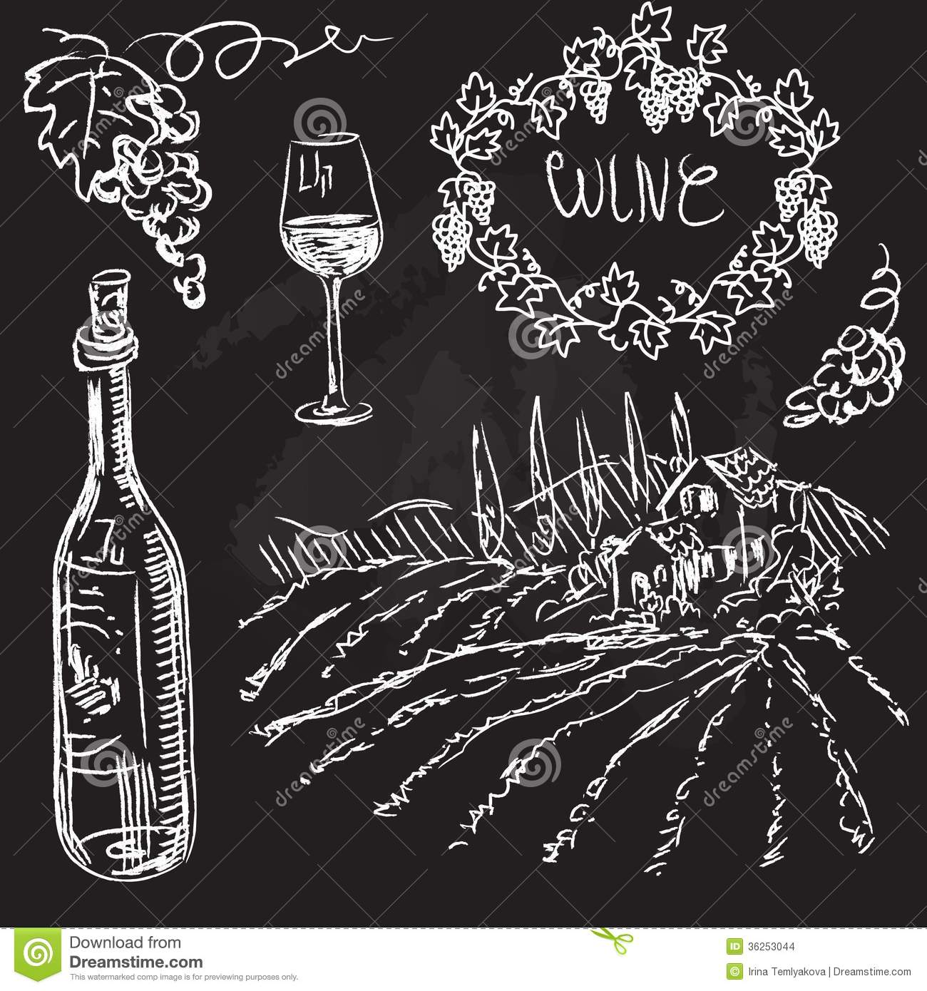 Hand drawn vector set wine and winemaking stock vector for Wine chalkboard art