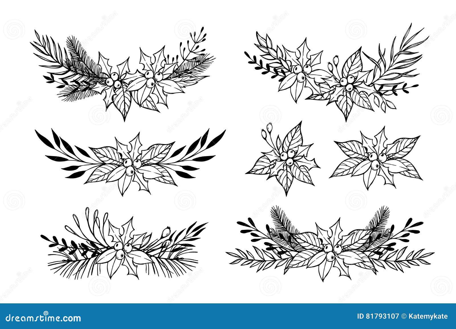 Hand Drawn Vector Set Of Winter Wreaths Laurel Leaf