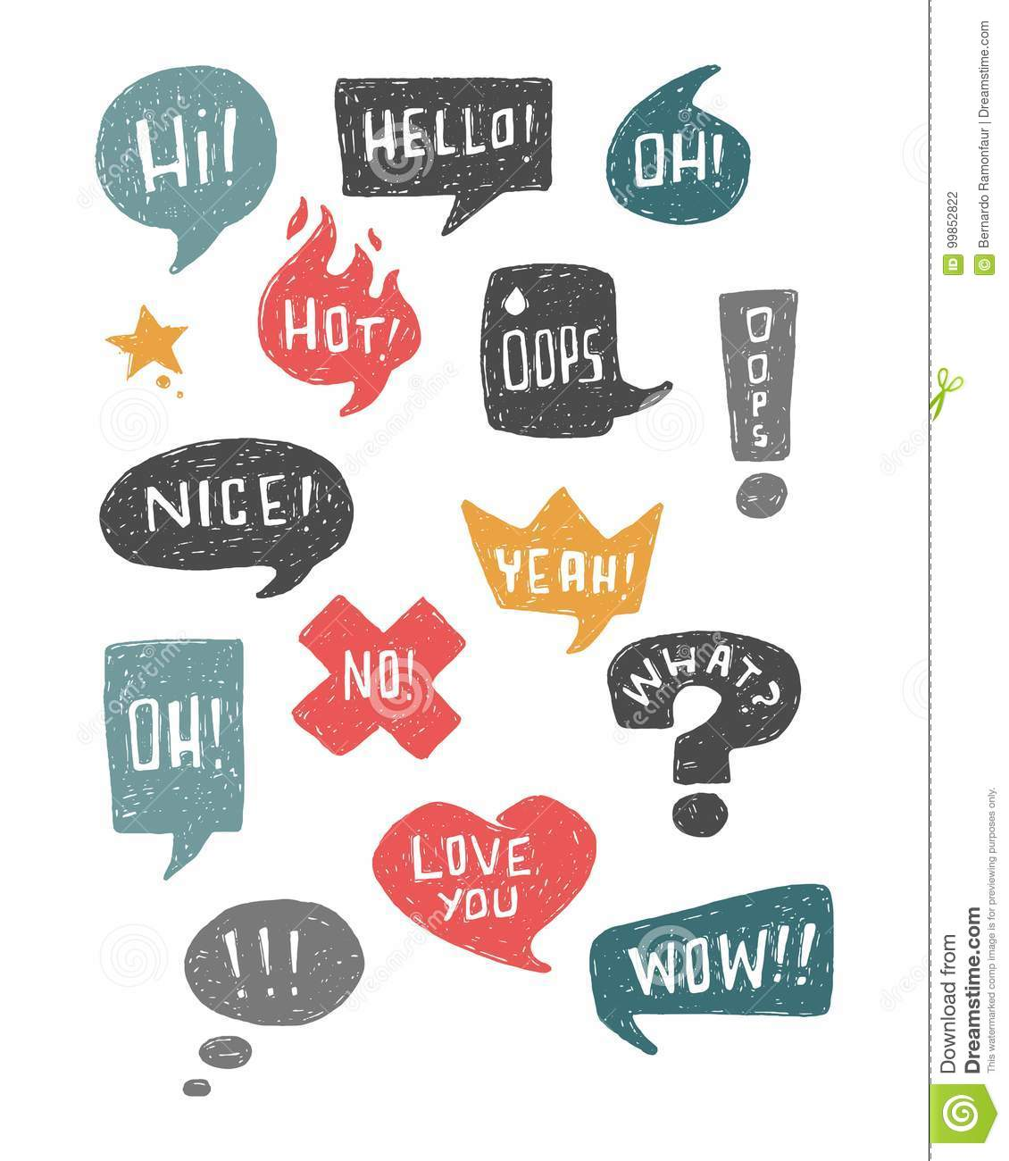 hand drawn vector speech bubbles and symbols stock vector