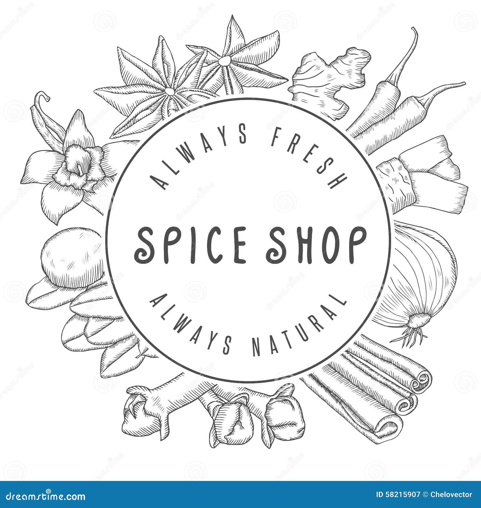 hand drawn vector spice shop emblem stock vector illustration of