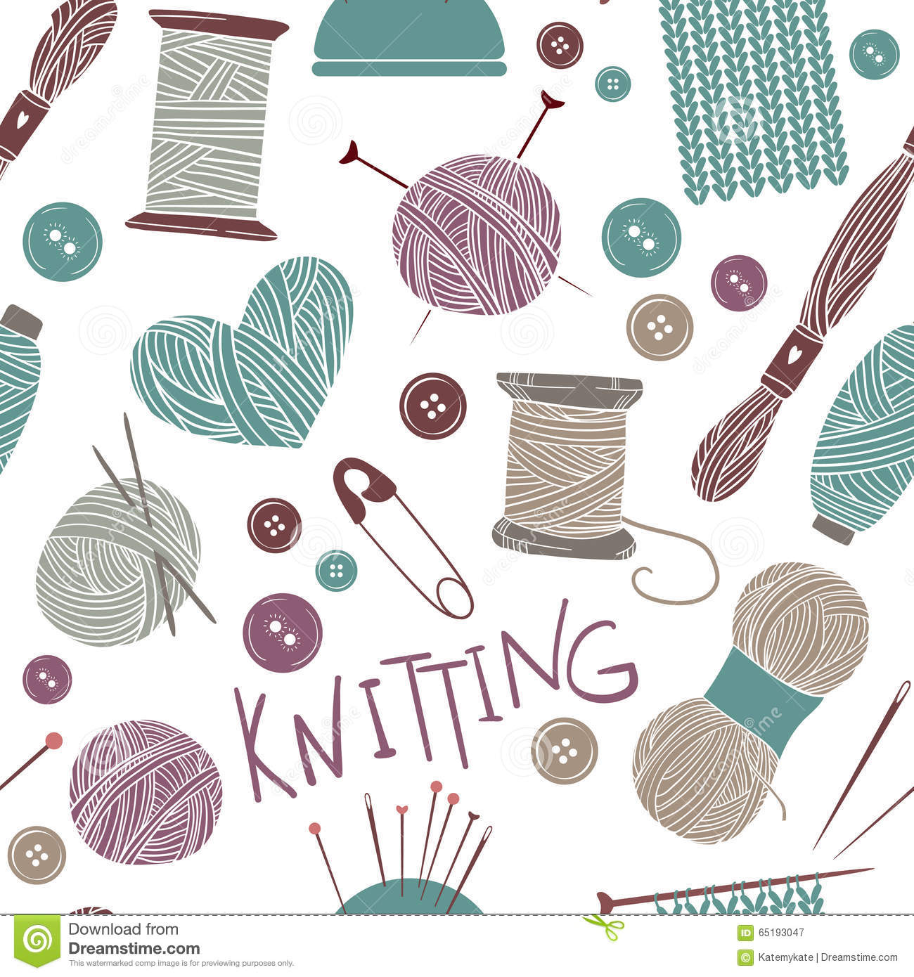Free Knitting Icons Clipart : Hand drawn vector vintage illustration seamless pattern