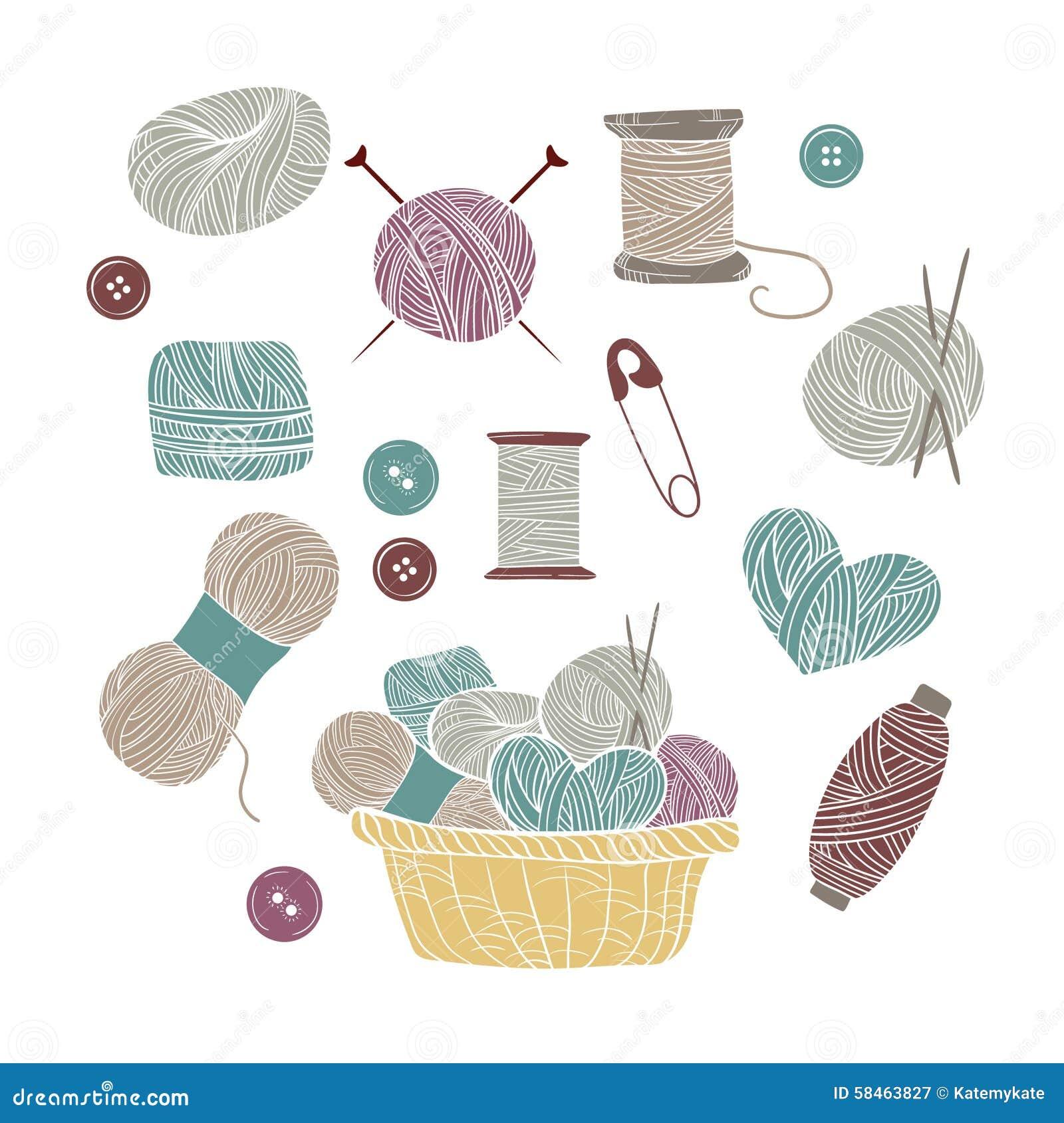 hand drawn vector vintage illustration set of knitting