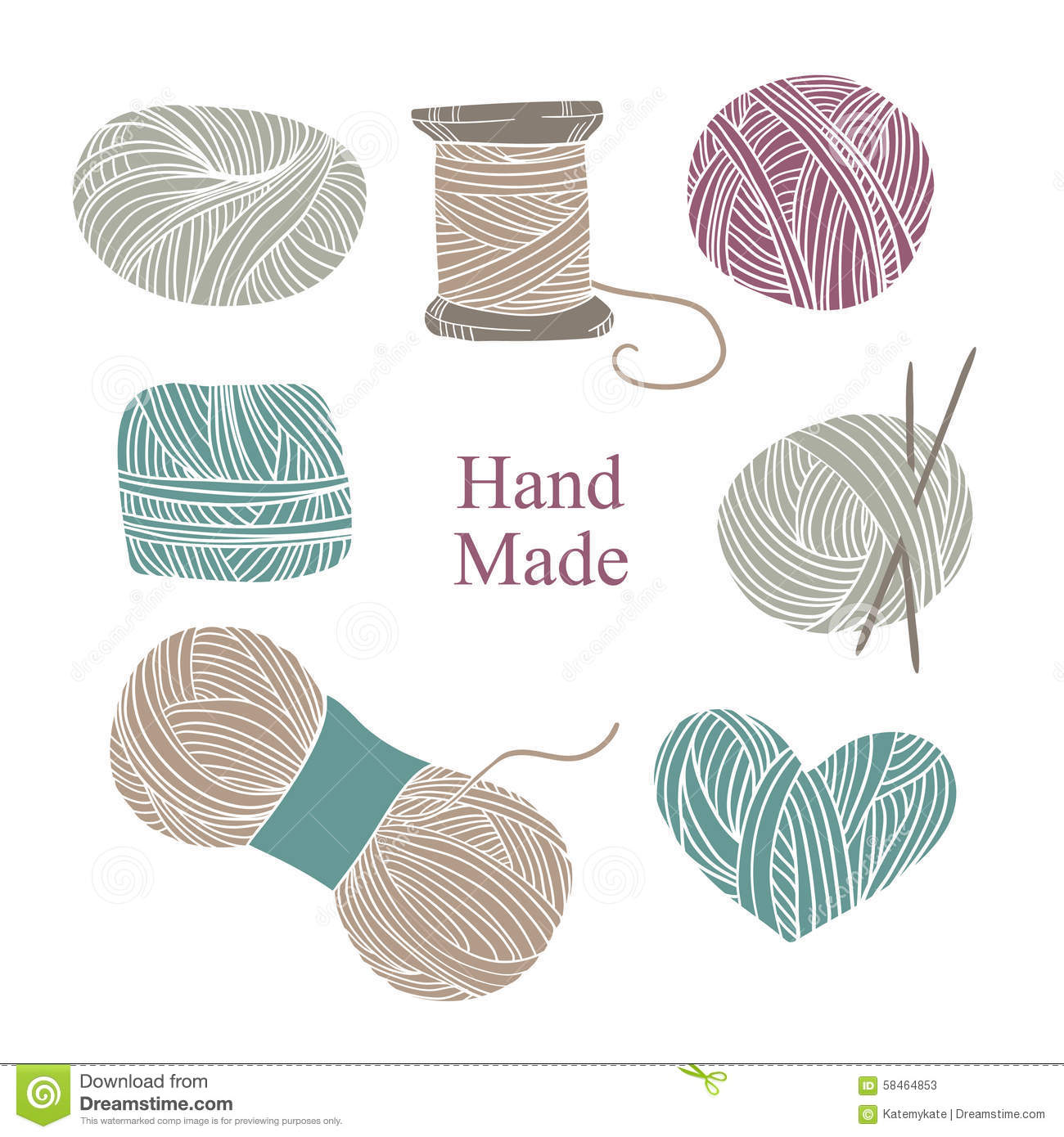 Free Knitting Icons Clipart : Hand drawn vector vintage illustration set of knitting