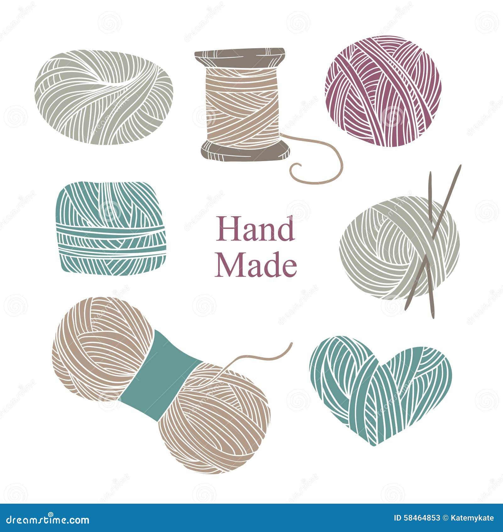 Knitting Hands Clipart : Hand drawn vector vintage illustration set of knitting