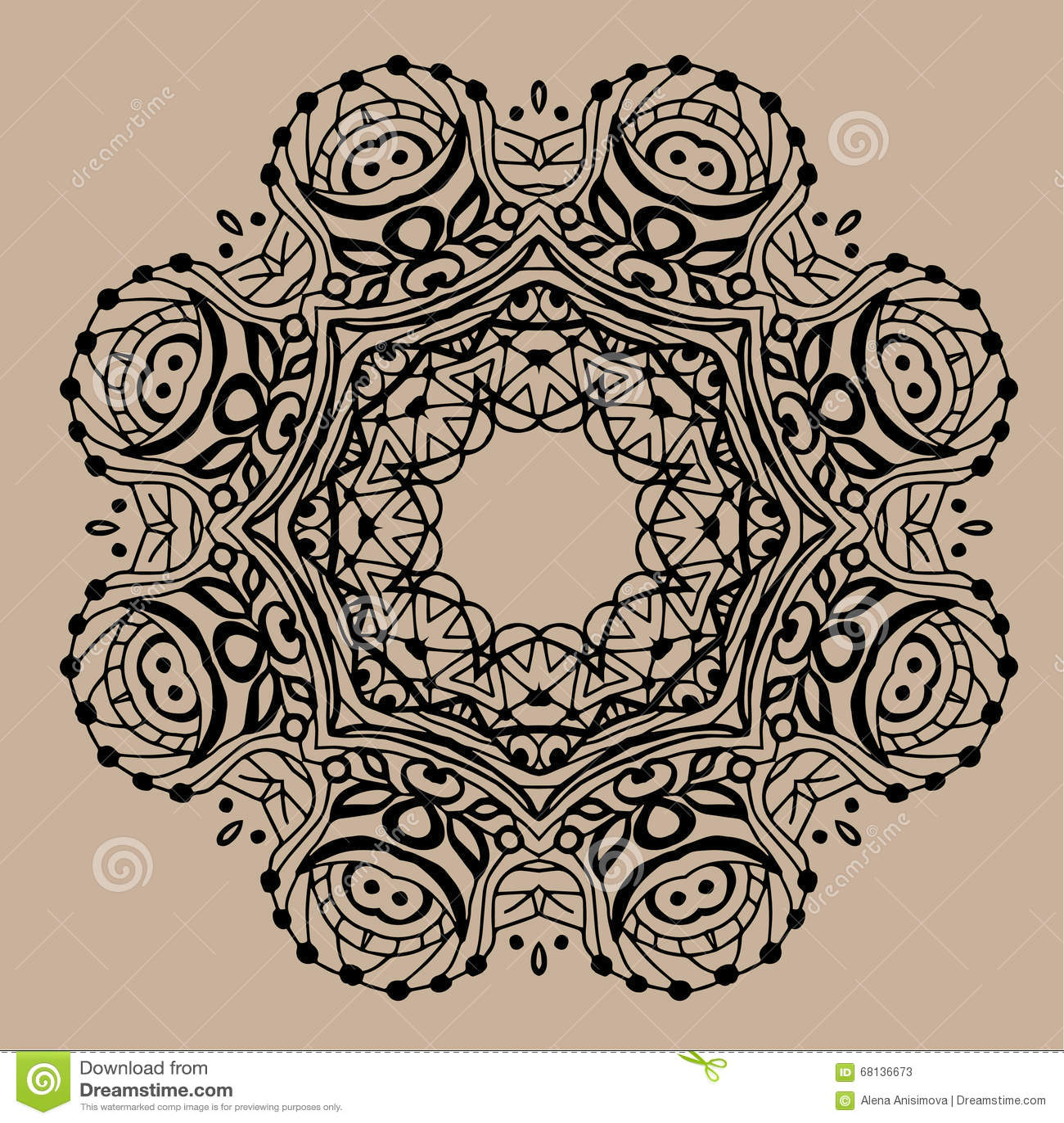 Hand Drawn Vector Zentangle Mandala