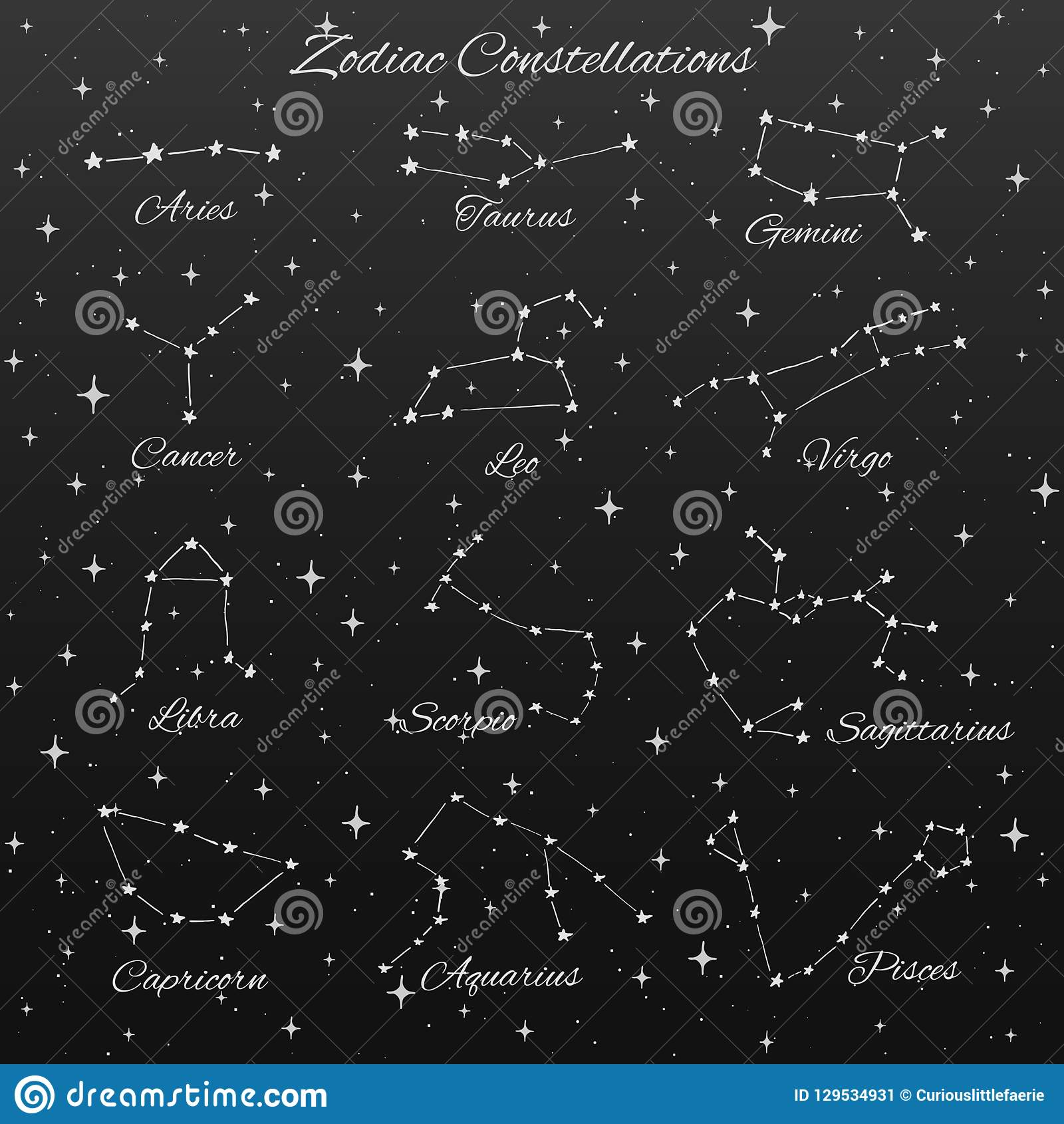 Hand Drawn Vector Zodiac Constellations Set Of 12 Signs