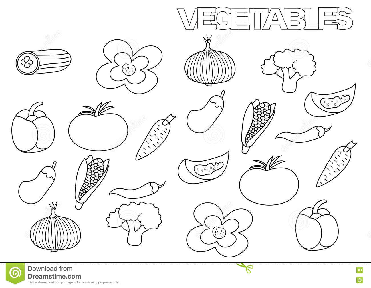 Hand Drawn Vegetables Set Coloring Book Page Template Stock