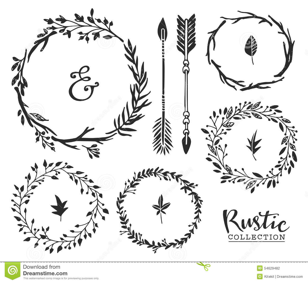 Download Hand Drawn Vintage Ampersand Arrows And Wreaths Rustic Decorat Stock Vector