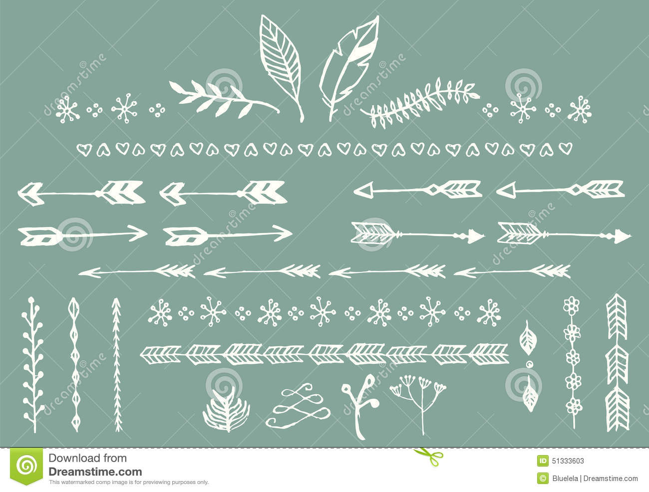 Hand Drawn Vintage Arrows Feathers Dividers And Floral