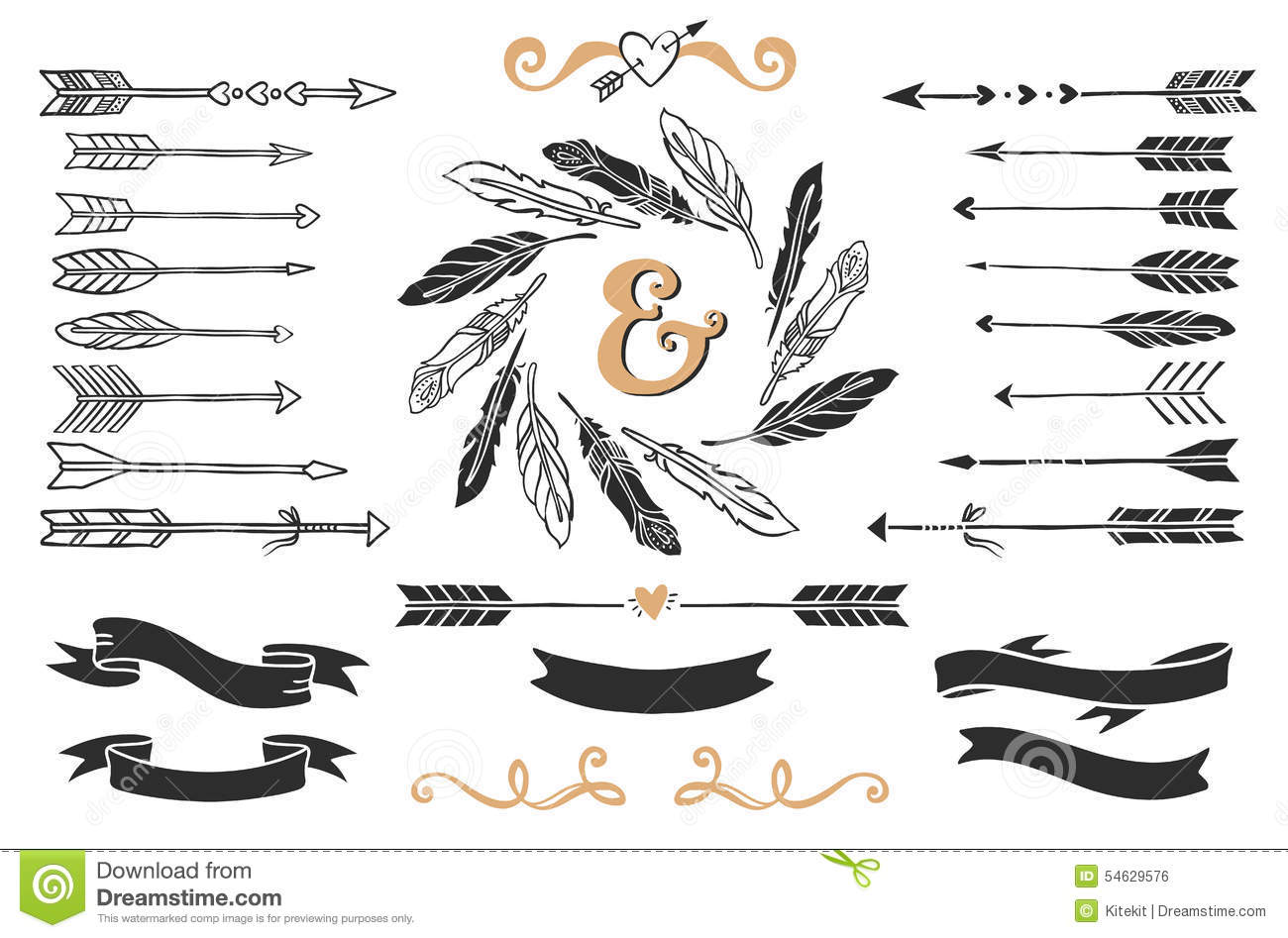Hand drawn vintage arrows, feathers, and ribbons with lettering.