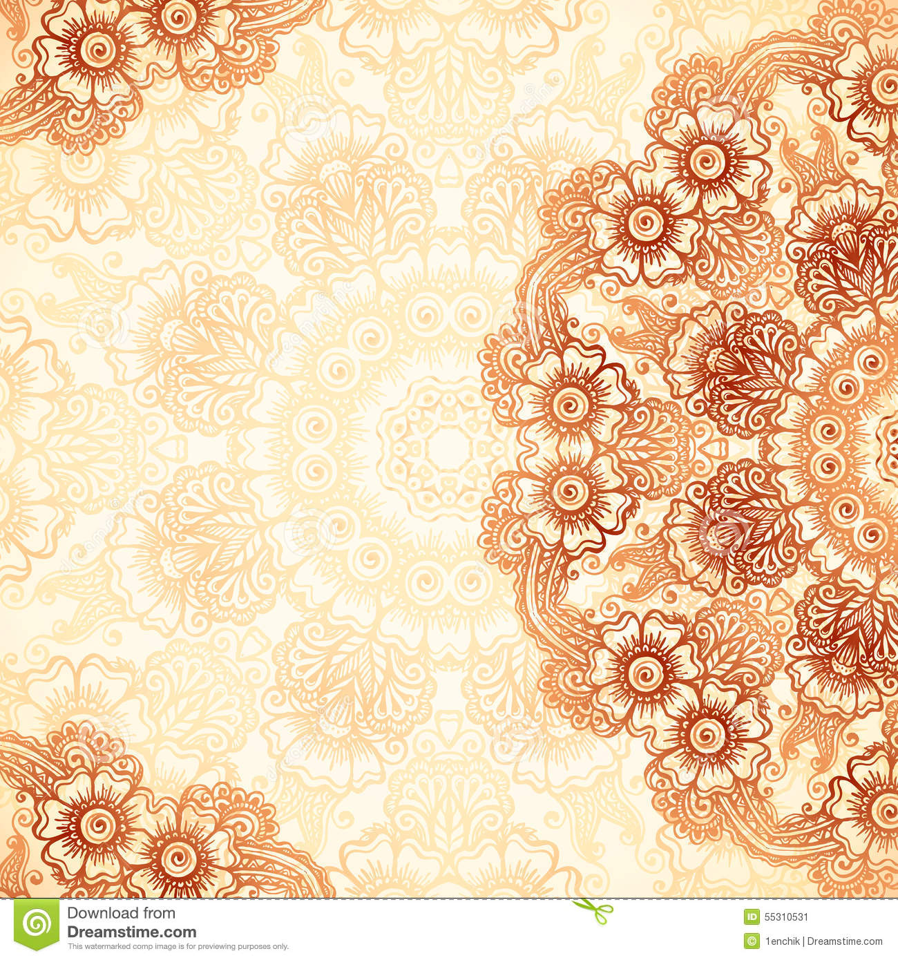 Hand drawn vintage background in mehndi style stock vector download comp stopboris Gallery