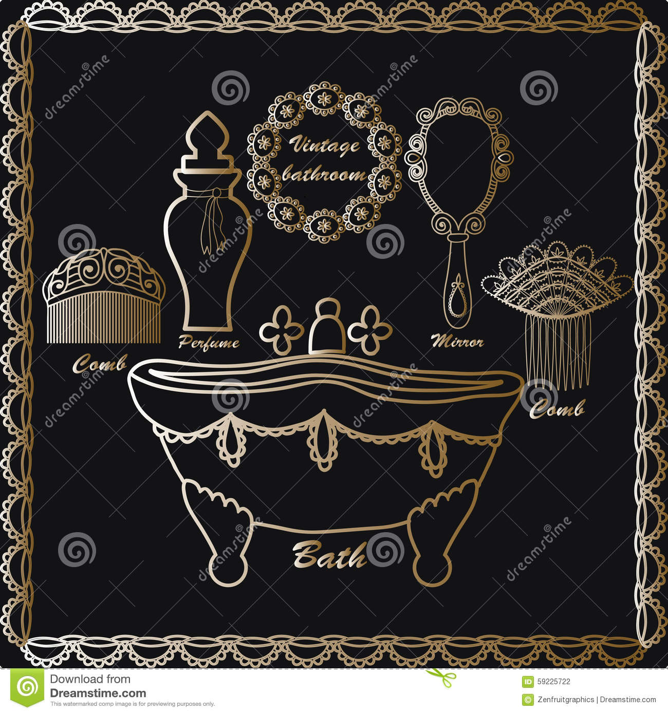 hand drawn vintage bathroom icons set retro poster vintage elements vintage bathtub hair combs. Black Bedroom Furniture Sets. Home Design Ideas