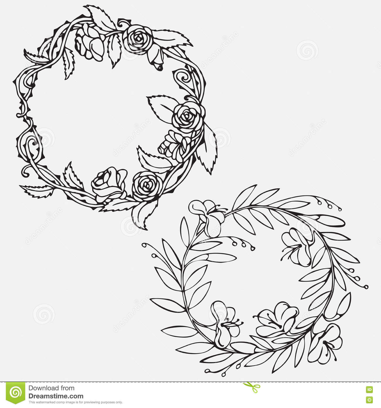Vintage elements and borders set for ornate and decoration stock - Hand Drawn Vintage Decorative Lovely Set Of Laurels And