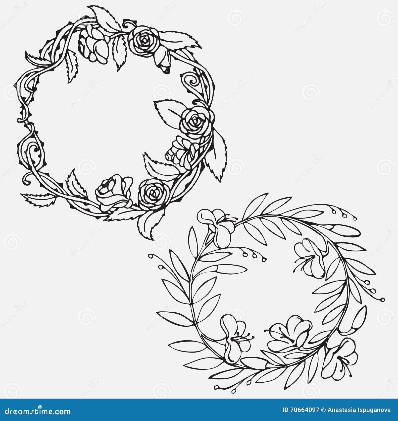 Rose outline vector image - Hand Drawn Vintage Decorative Lovely Set Of Laurels And