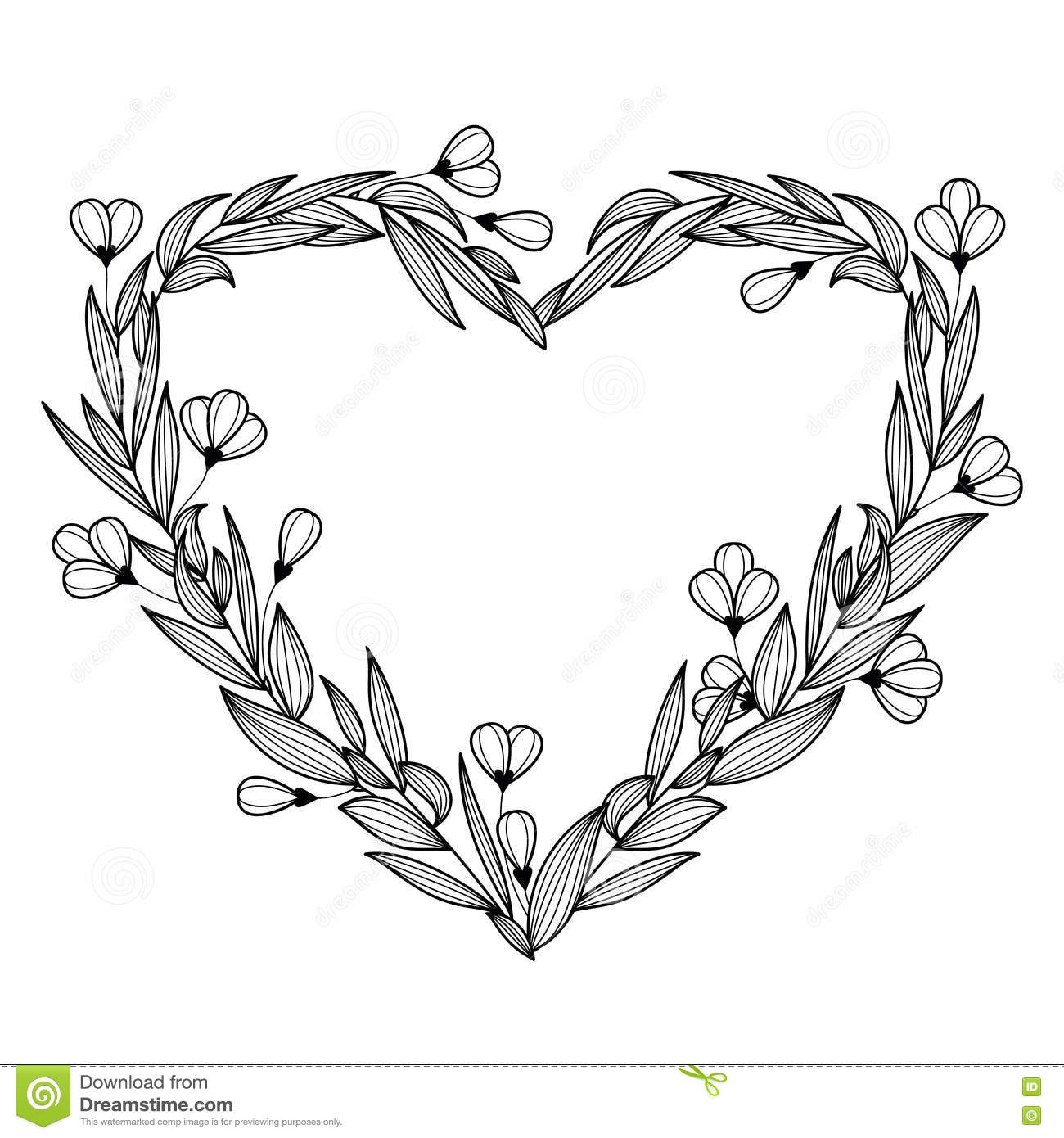 Hand Drawn Vintage Floral Wreath In The Shape Of Heart Vector I
