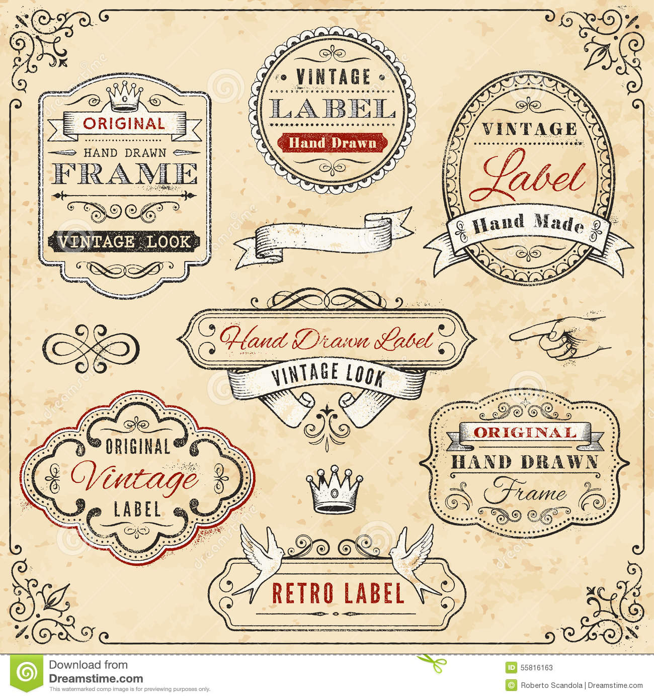 z label templates - hand drawn vintage framed label templates stock vector