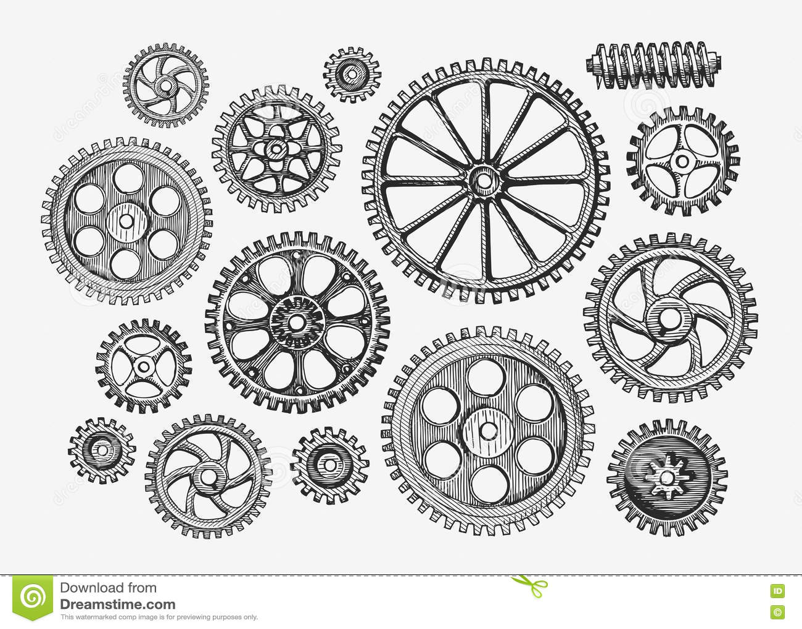Hand-drawn vintage gears, cogwheel. Sketch mechanism, industry. Vector illustration