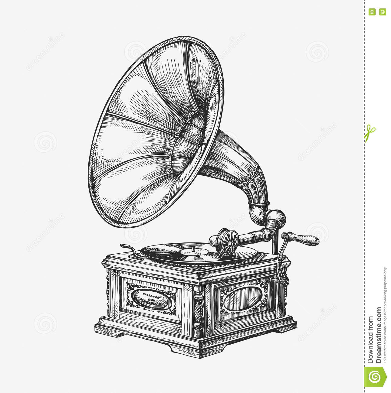 Hand Drawn Vintage Gramophone Sketch Music Vector