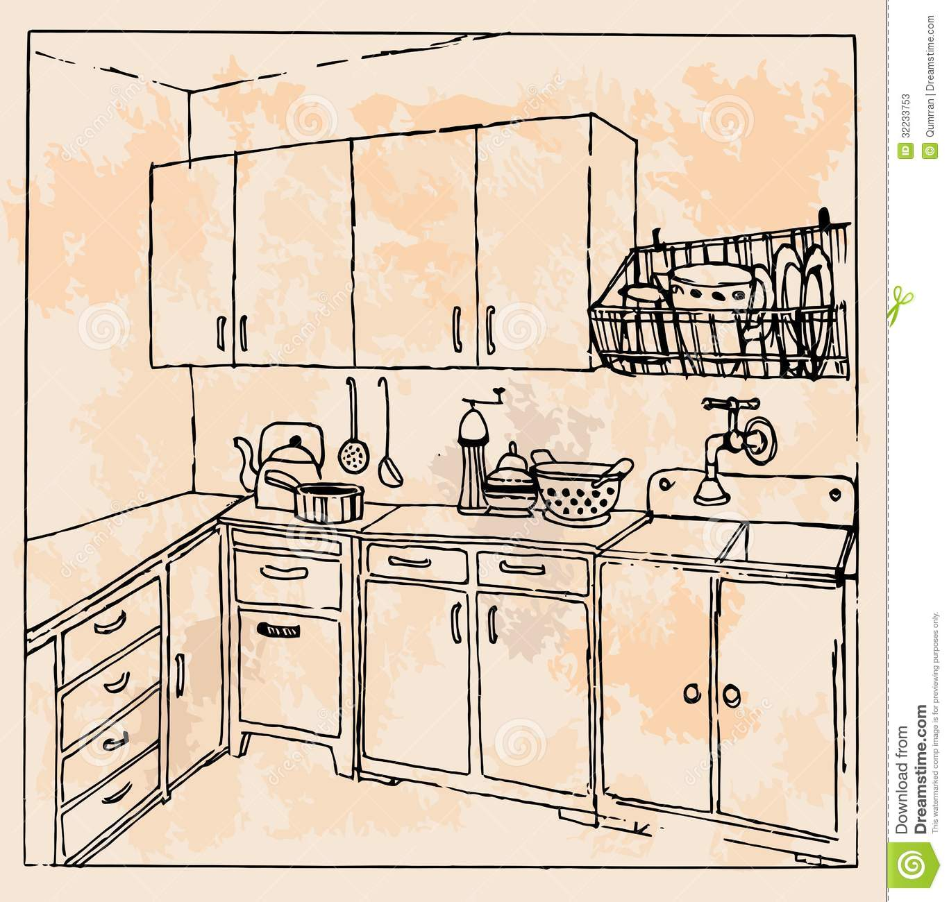 handdrawn vintage kitchen stock photos  image, Kitchen design