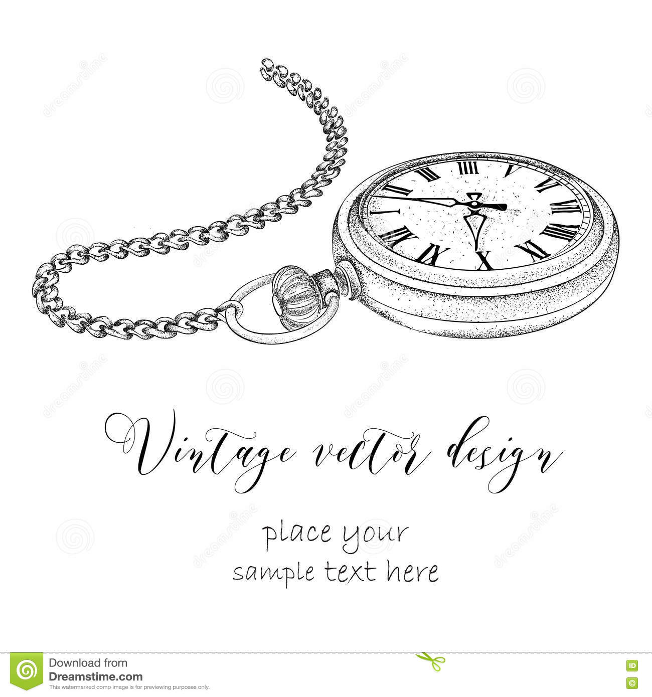 Hand Drawn Vintage Postcard A Pocket Watch On Chain And Flowers Vector Illustration