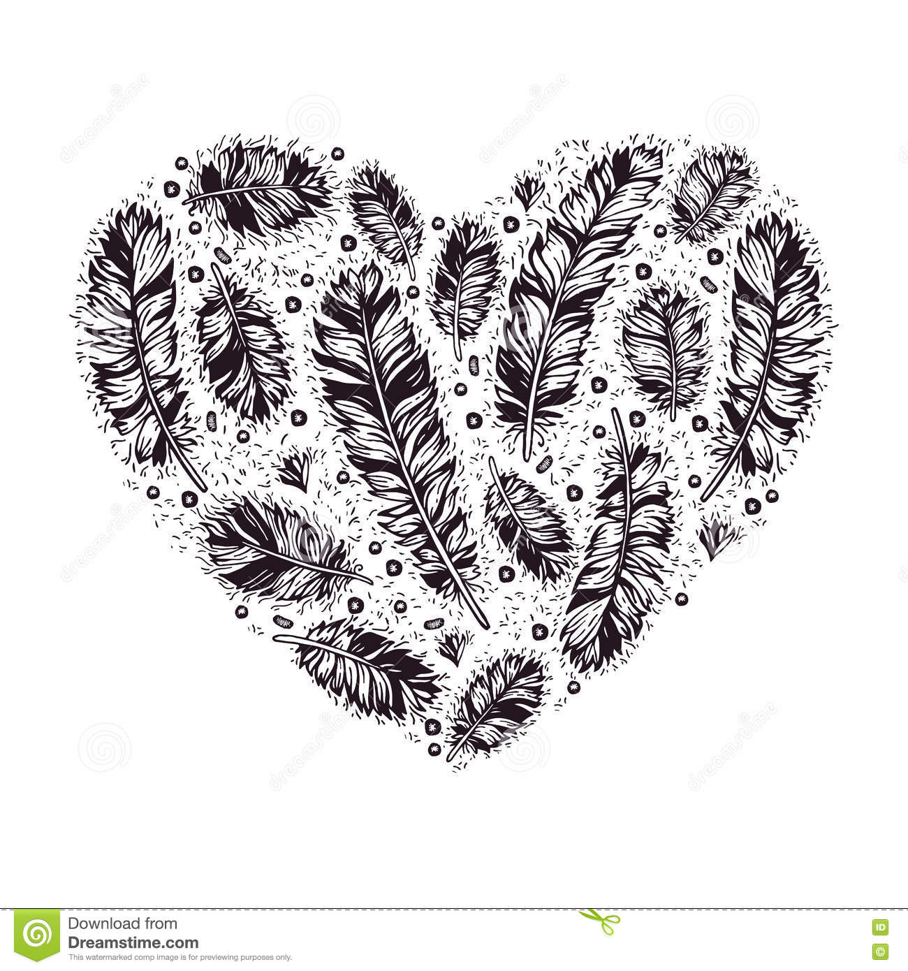 Hand Drawn Vintage Valentine S Day Heart With Ethnic Feathers Stock