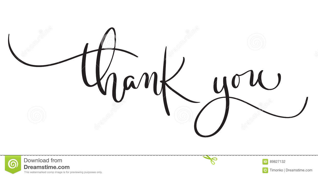 Hand Drawn Vintage Vector Text Thank You On White Background