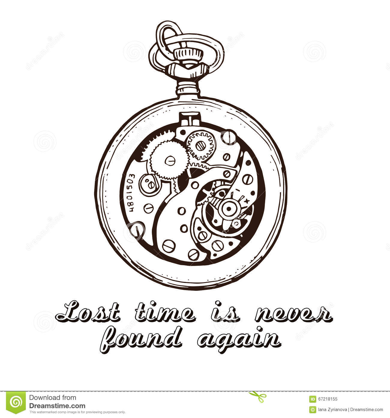 Watch Time Quotes: Vector Vintage Pocket Watch On An Old Grunge Background