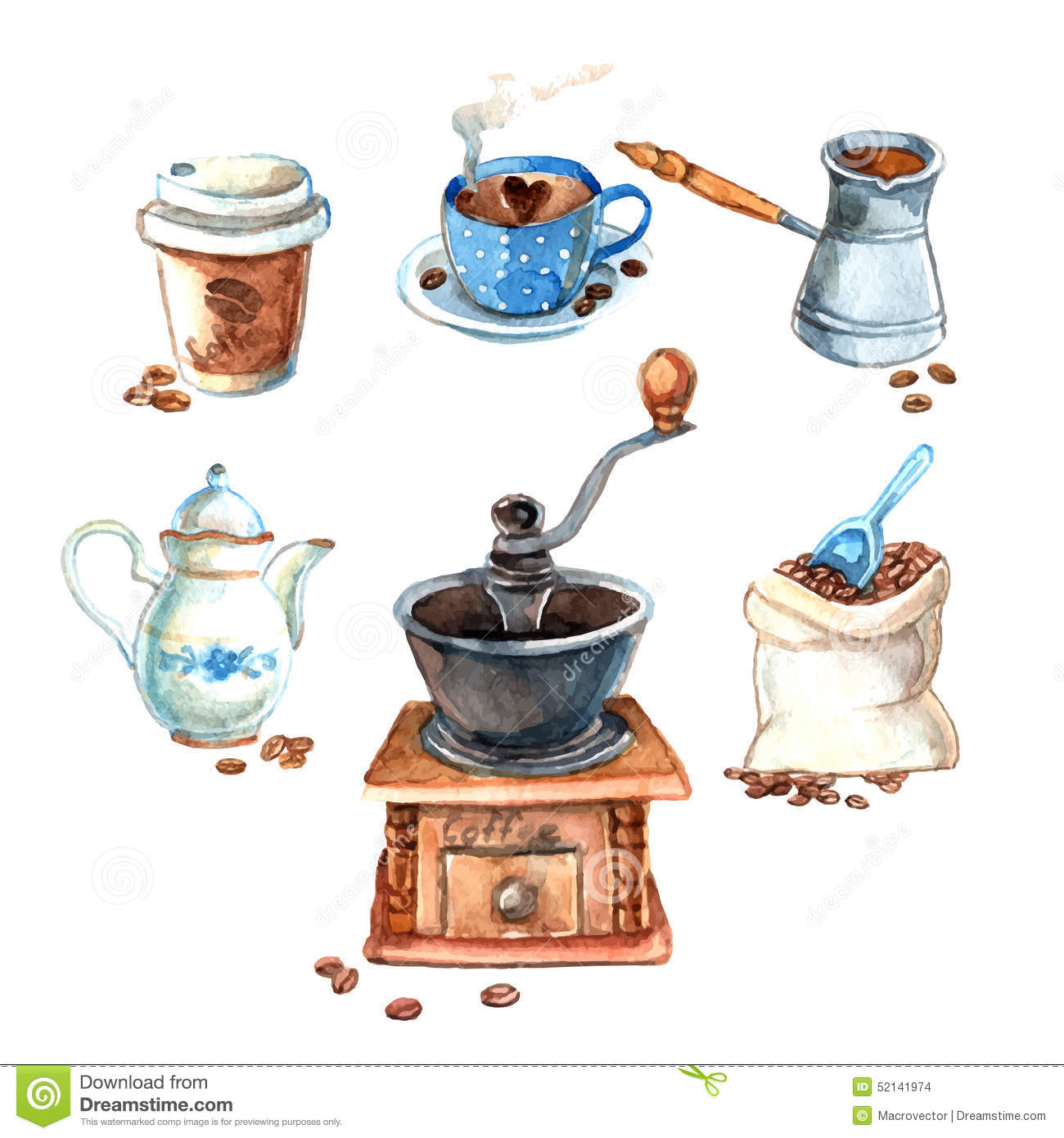 Hand drawn vintage watercolor coffee set