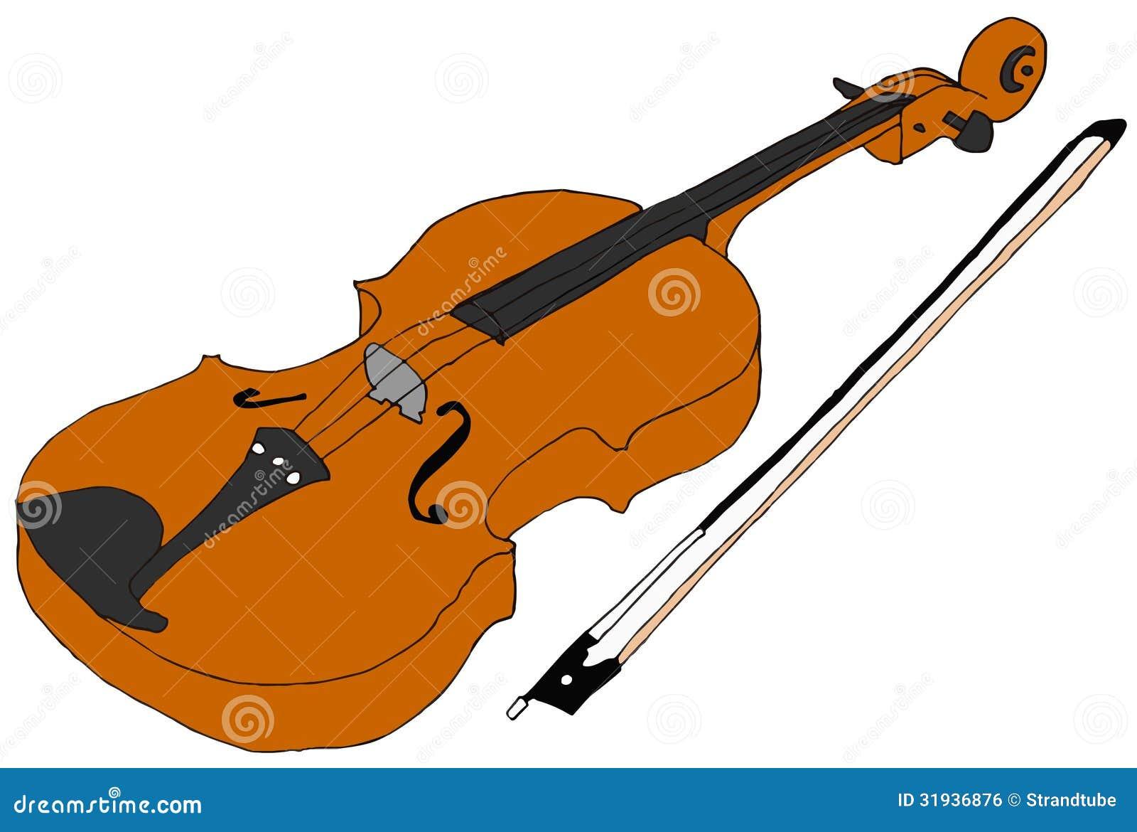 Violin Bow Clipart Image Hand Drawn Violin