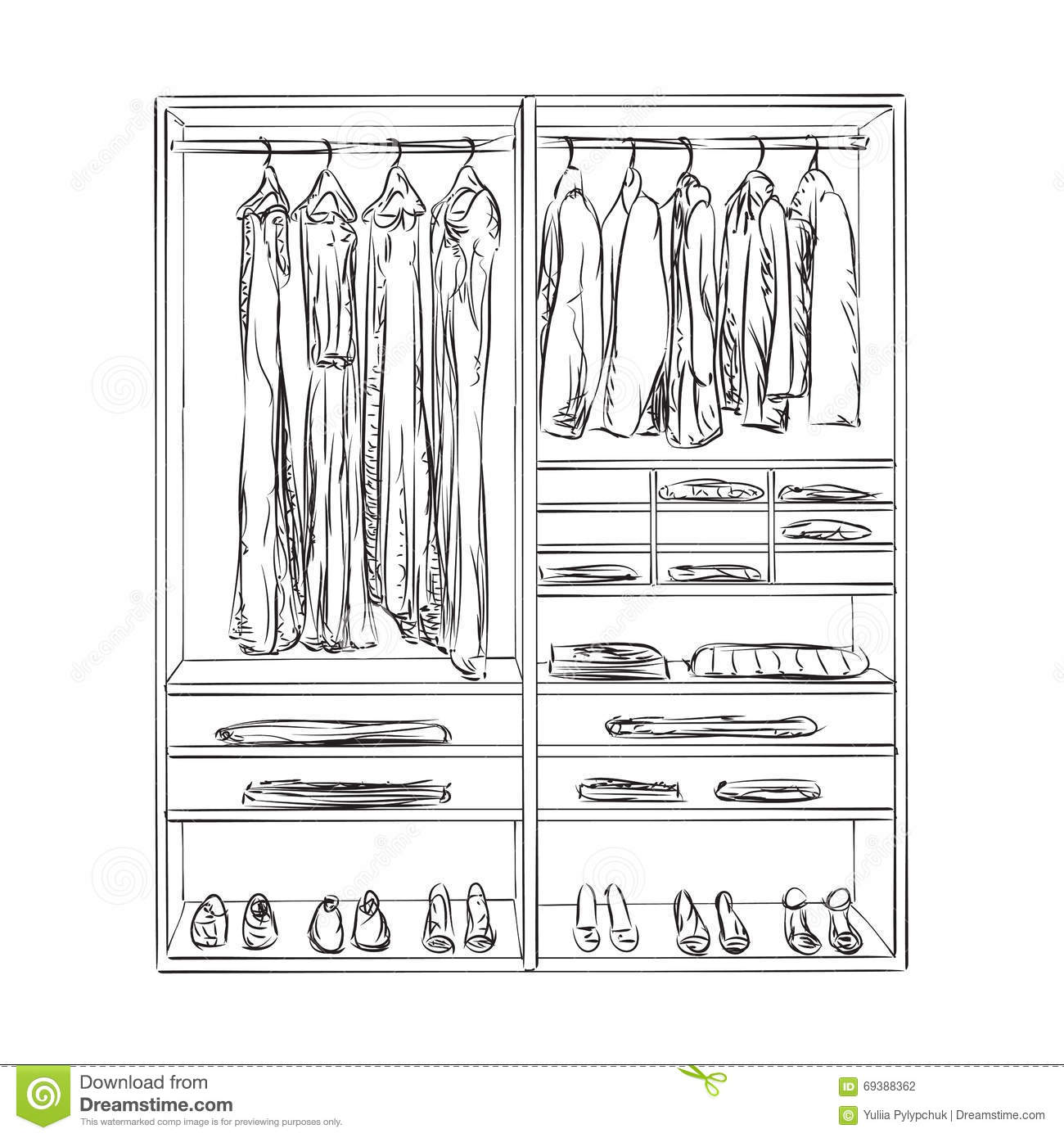 Hand Drawn Wardrobe Clothes Sketch Stock Photography