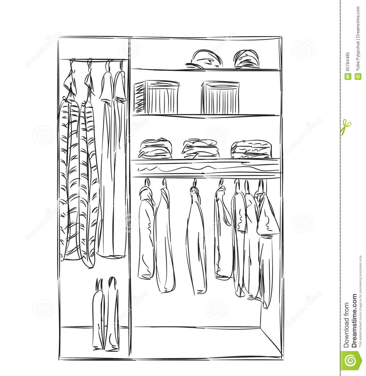 Hand drawn wardrobe sketch stock vector image 65784485 - Garderobeopening ...