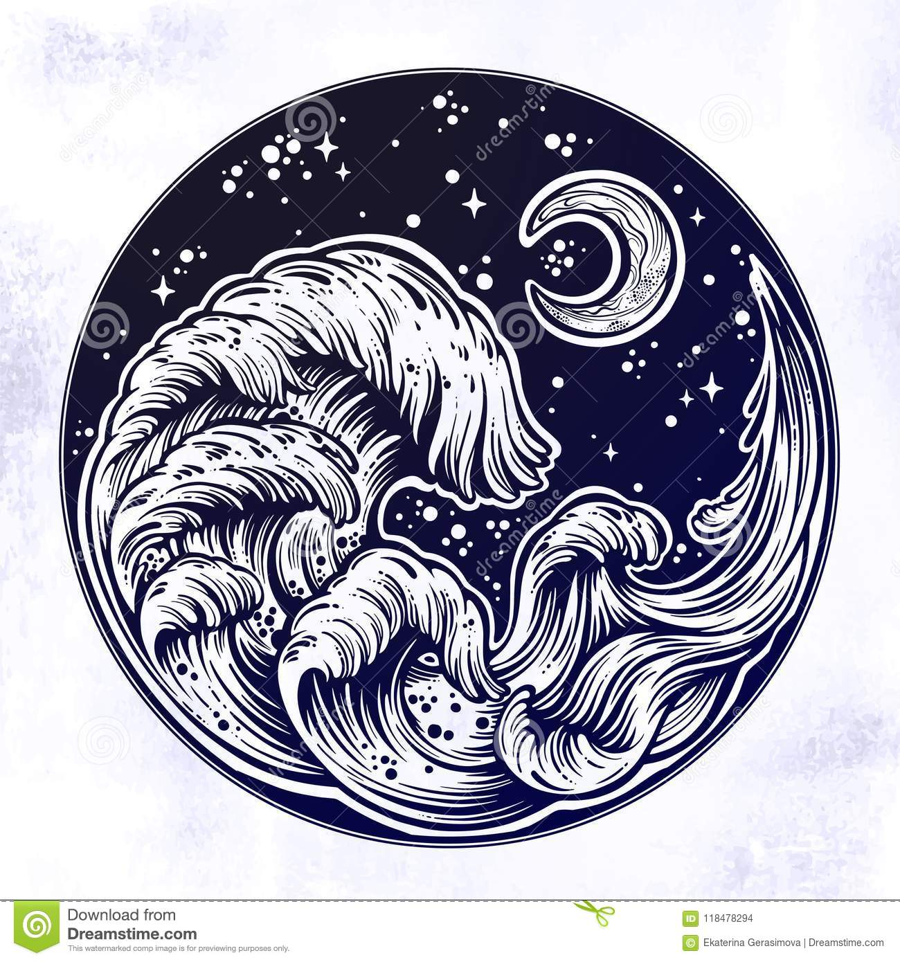 Line Art Moon : Hand drawn water waves in the night stormy sea with moon