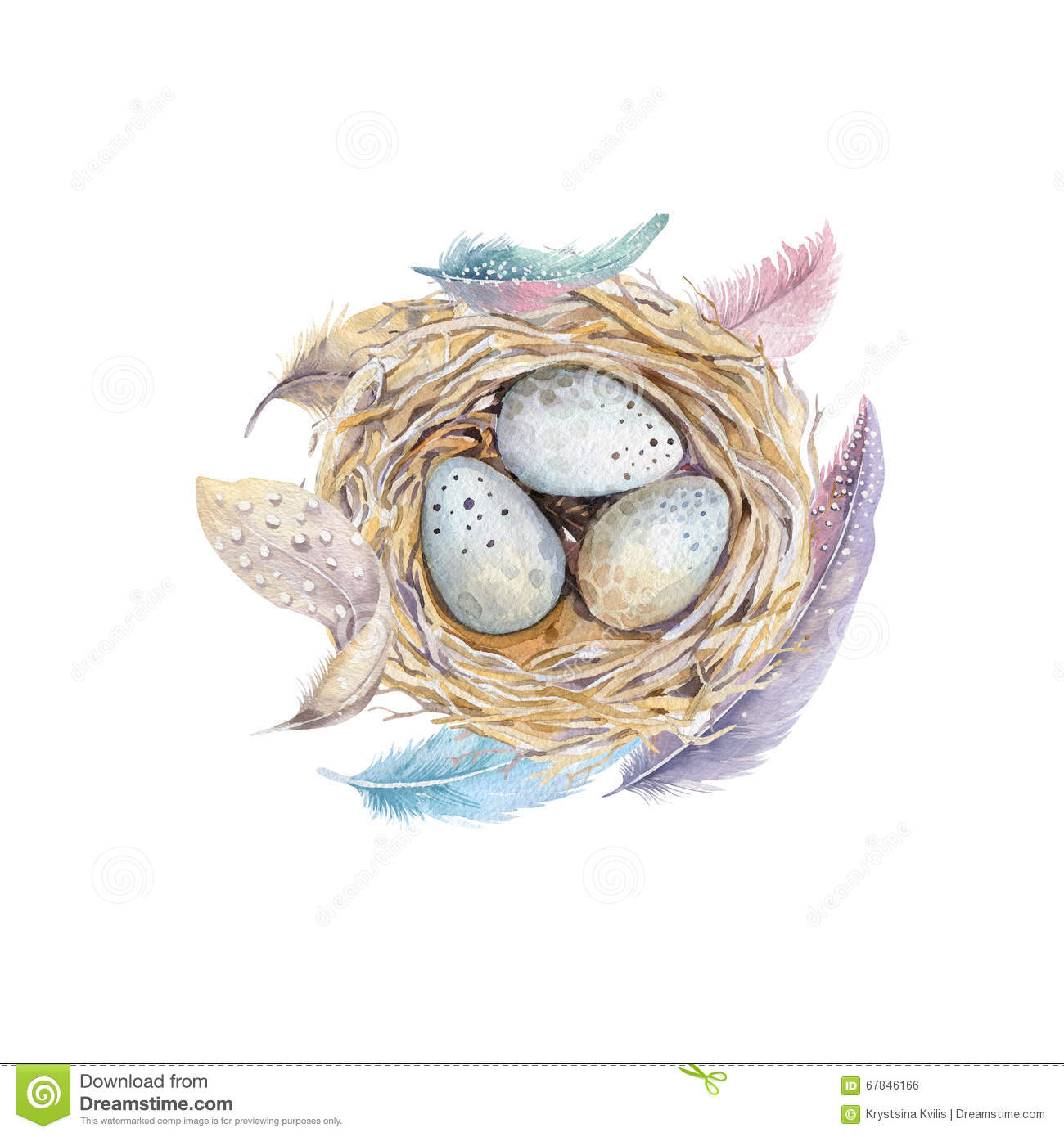 how to draw a nest with eggs