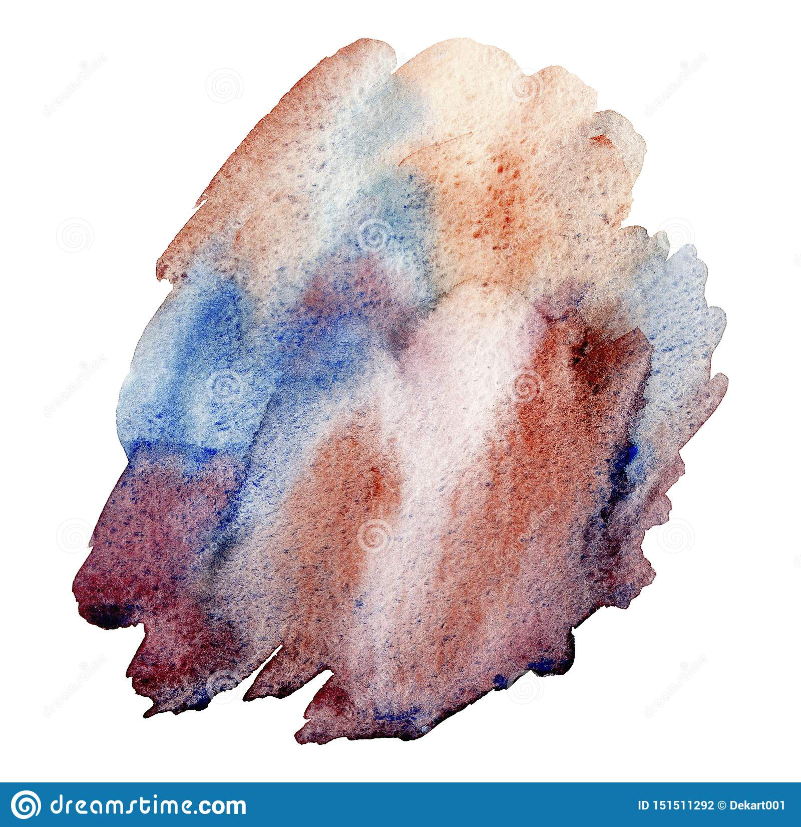 Hand drawn watercolor Blue brown abstract brush strokes isolated on white background.