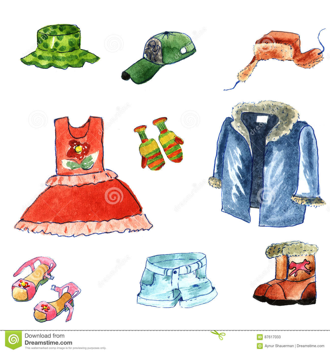 9be2648915f Hand Drawn Watercolor Clothes Cartoon Style On White Background. Winter And Summer  Cloth  Fur Cap With Ear Flaps