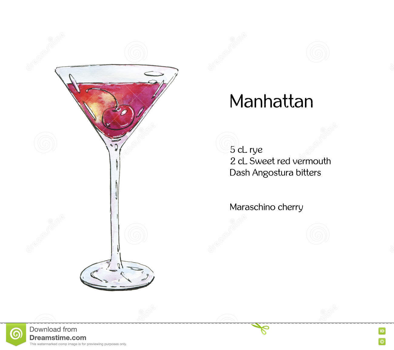 Hand Drawn Watercolor Cocktail Manhattan Stock Illustration Illustration Of Alcohol Hand 80912691