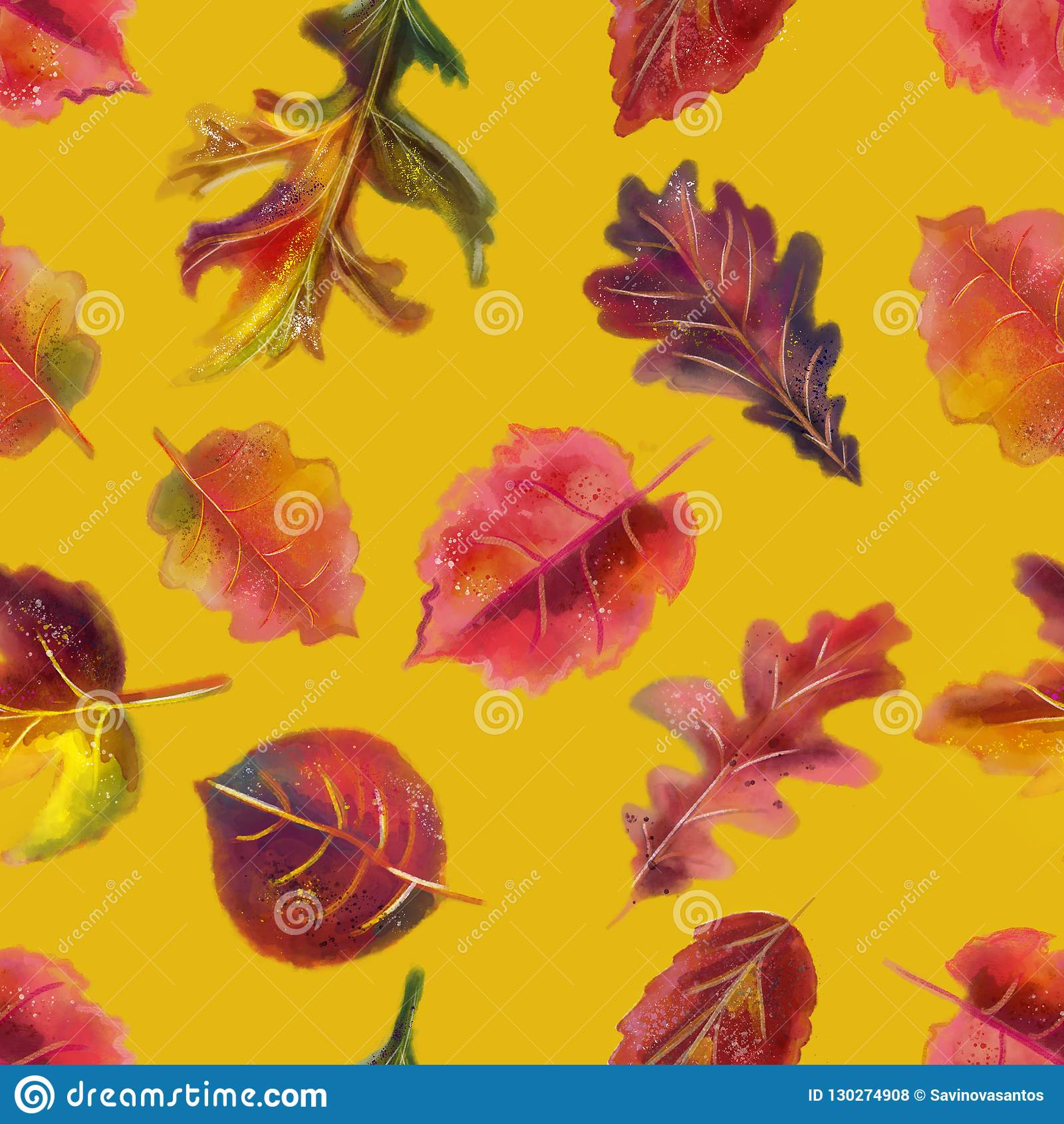 Hand drawn watercolor colorful autumn seamless pattern