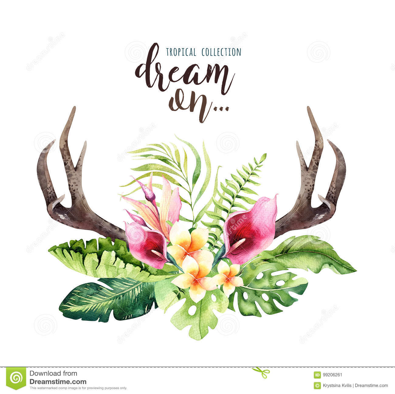 Hand Drawn Watercolor Deer Horns With Tropical Flower Bouquets