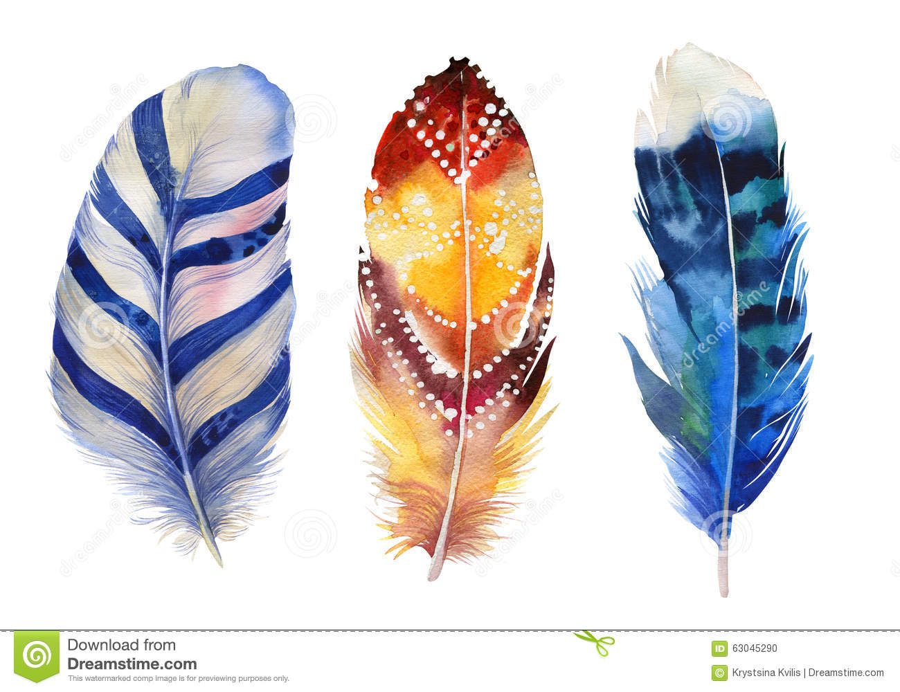 Hand drawn watercolor paintings vibrant feather set boho for Watercolor paintings of hands