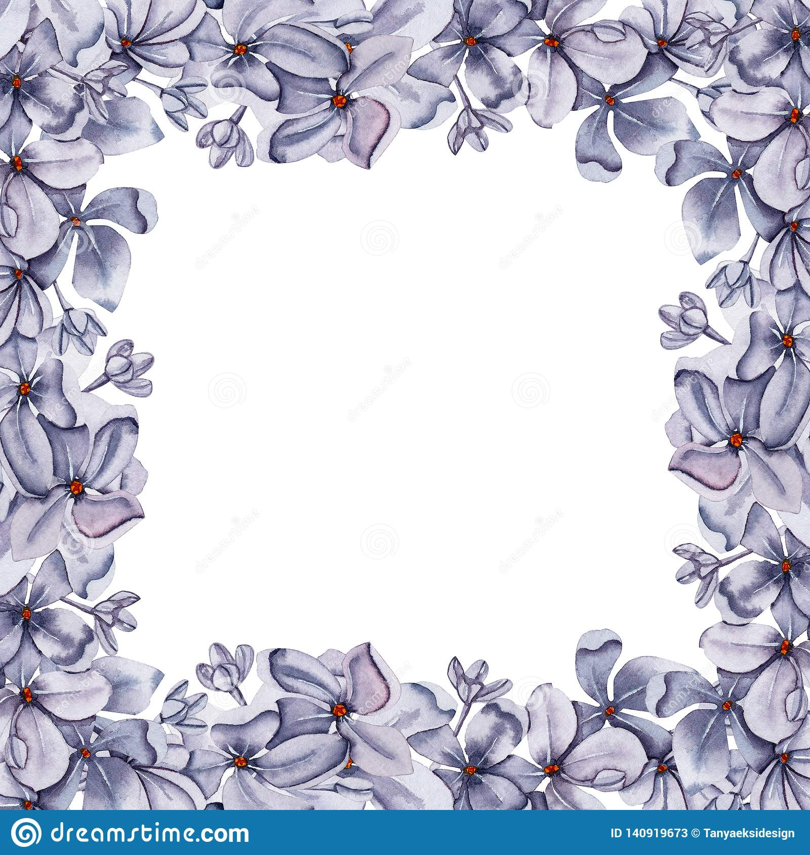 Hand Drawn Watercolor Floral Frame Background For Cards
