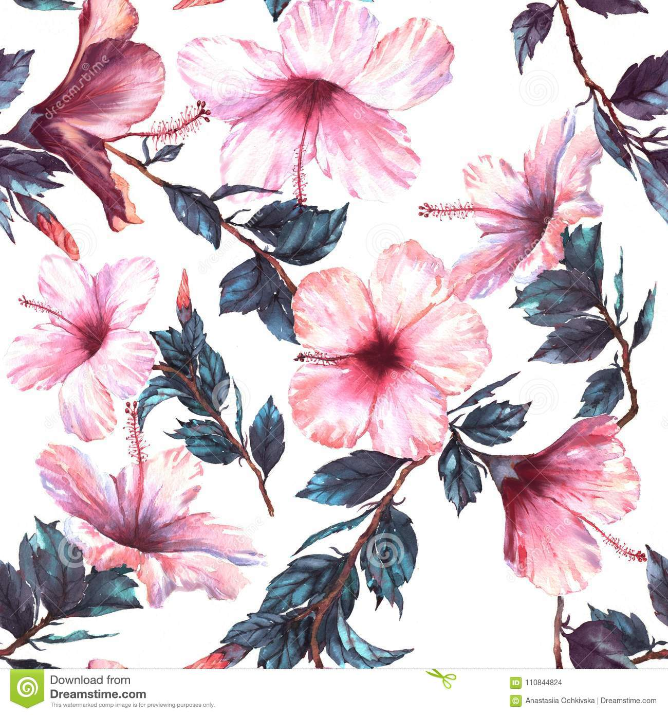 Hand Drawn Watercolor Floral Seamless Pattern With The Tender White