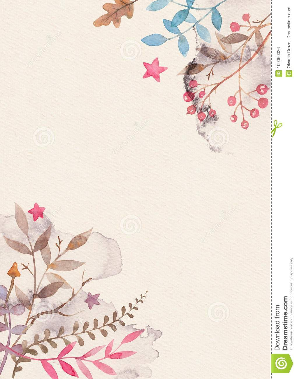 Hand Drawn Watercolor Greeting Card Template With Floral Ornament