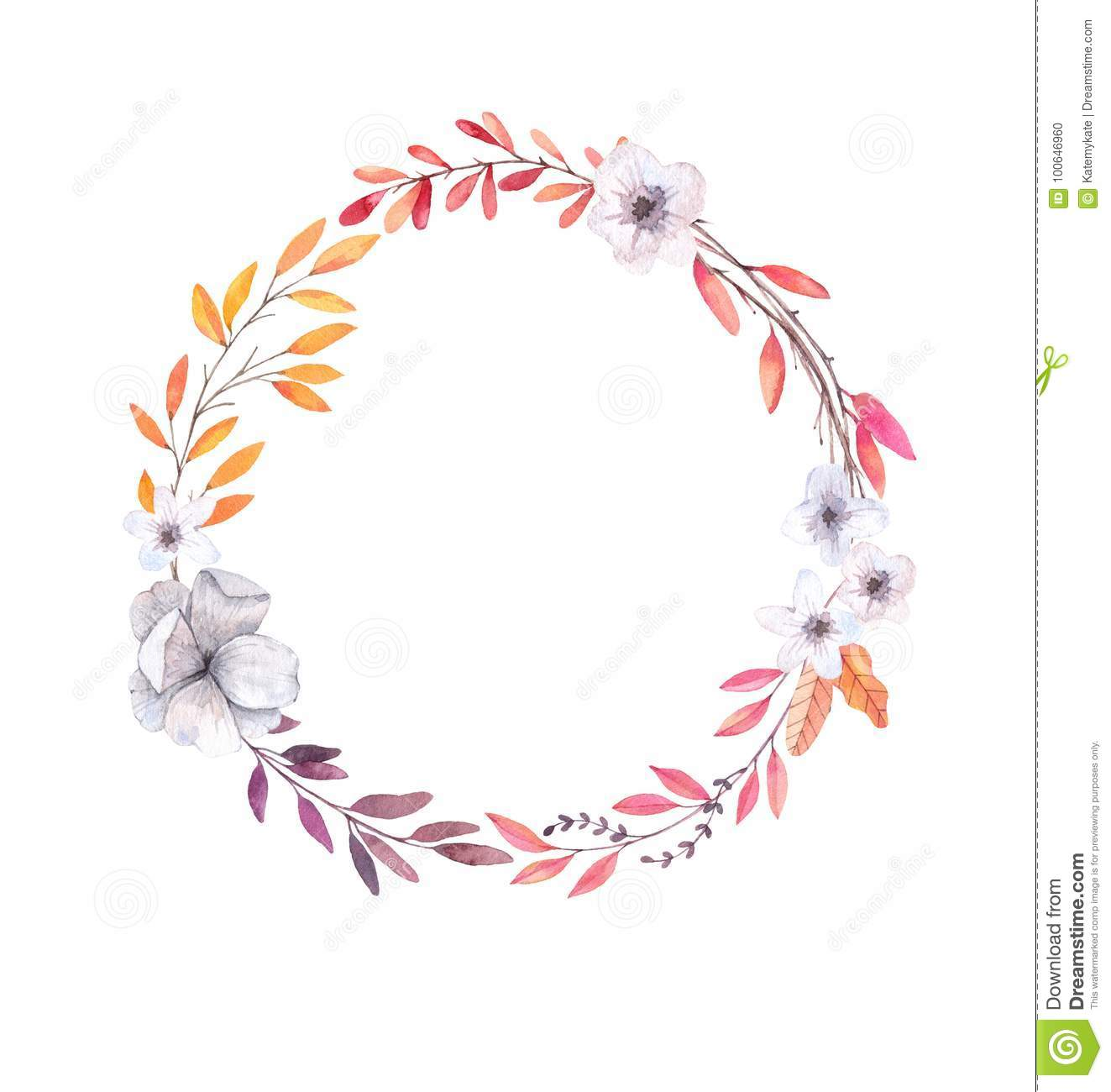 Hand drawn watercolor illustration. Autumn Wreath. Fall leaves.