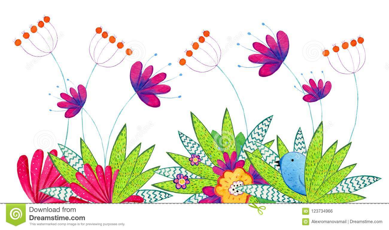 Hand drawn watercolor illustration with cartoon decorative flowers, plants and bird. Illustration for children prints