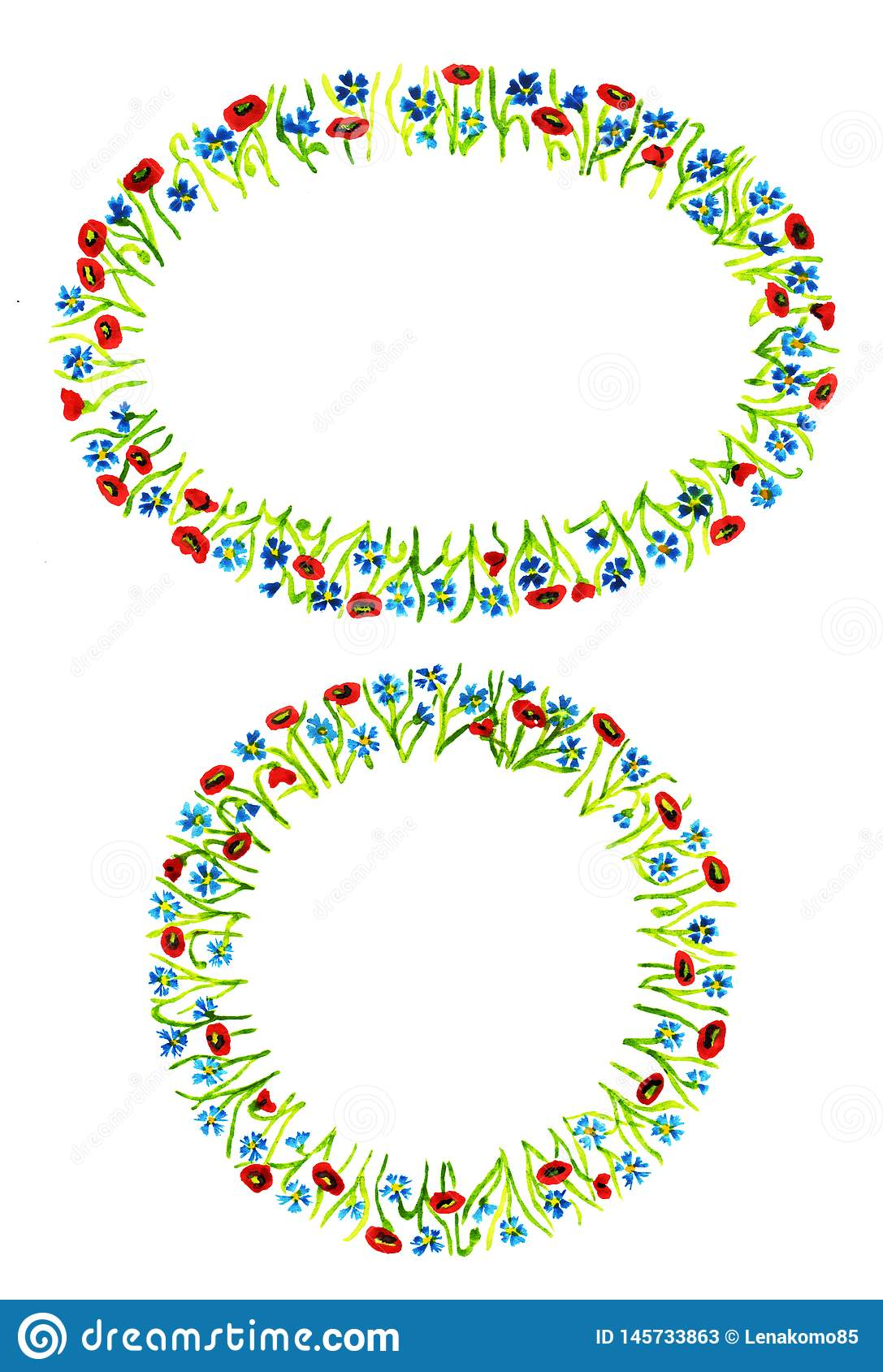 Set of two different shaped floral frames isolated on white background.